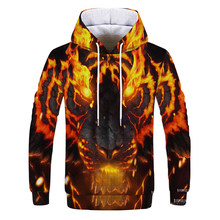 2019 Yellow flame tiger 3D autumn Men Sweatshirt Women Hoodies outwear Winter Handsome Hooded Male 3D Hoody hio hop clothesr(China)