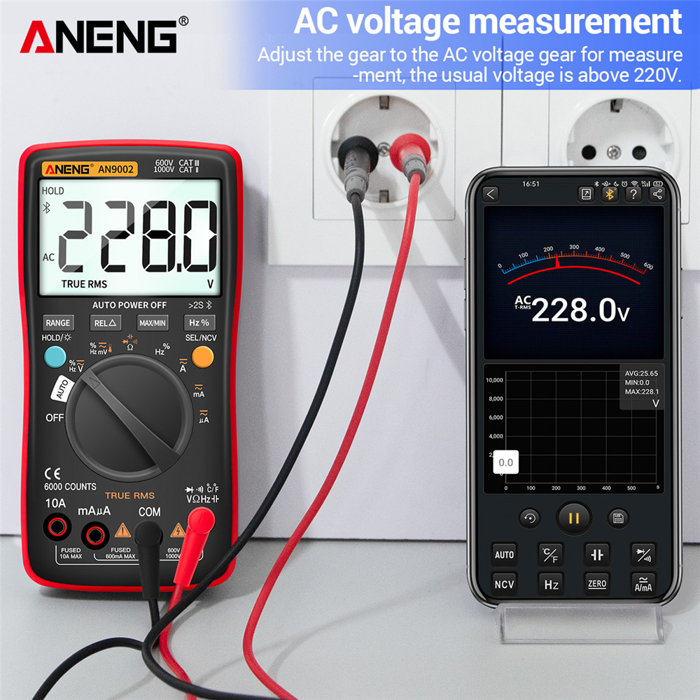 ANENG MultimetroTrue Voltage Tester Counts AC Professional 6000 Range Current Digital Multimeter Bluetooth Auto RMS AN9002 DC