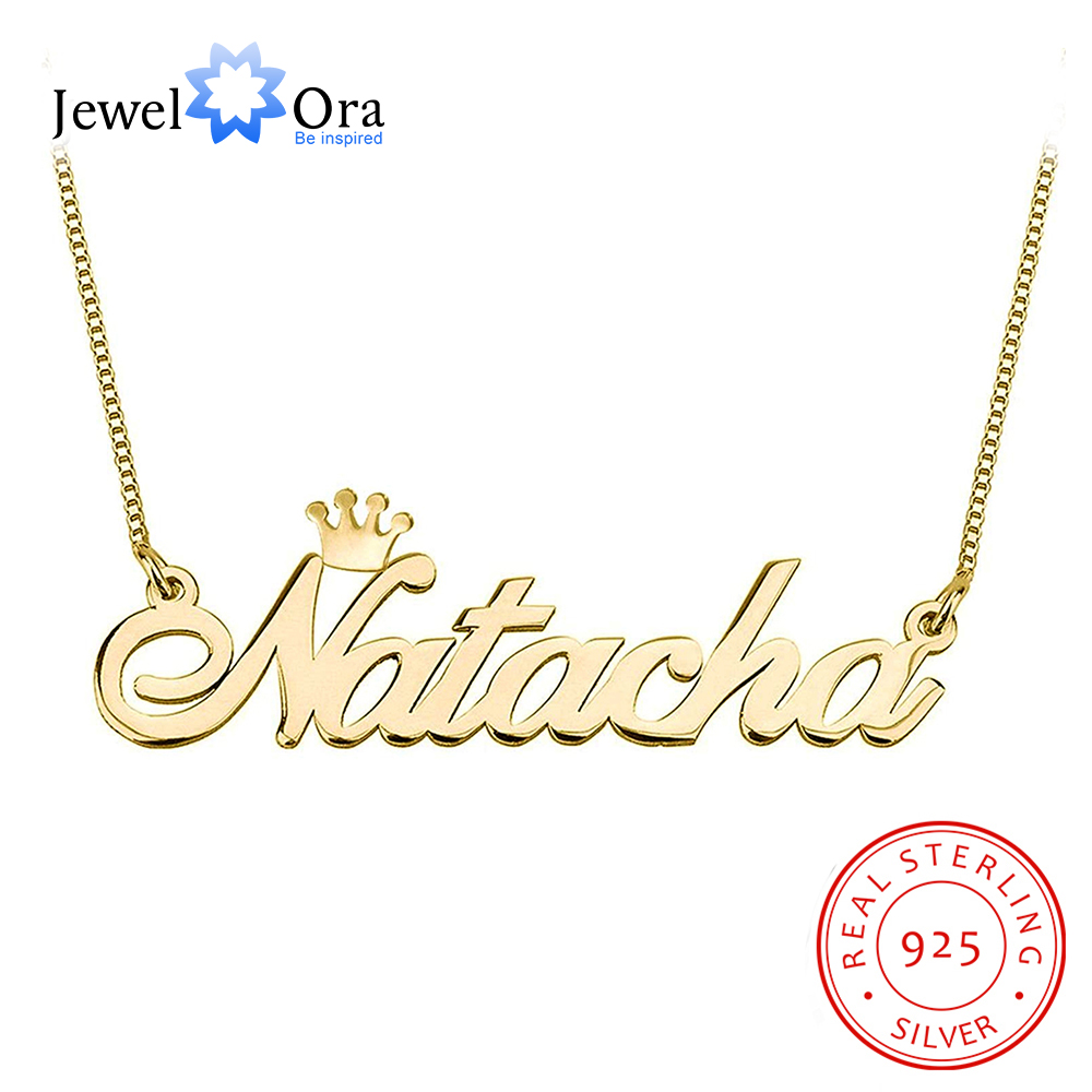 Personalized 925 Sterling Silver Nameplate Necklace With Crown Custom Any Name Fine Jewelry Gift For Mom  (JewelOra NE102939)