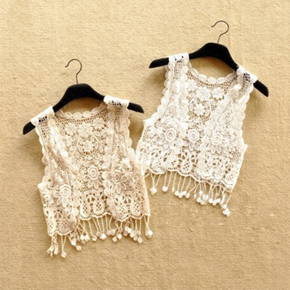 Solid One Size Women Sleeveless Lace Crochet Open Front Kimono Cardigan Top