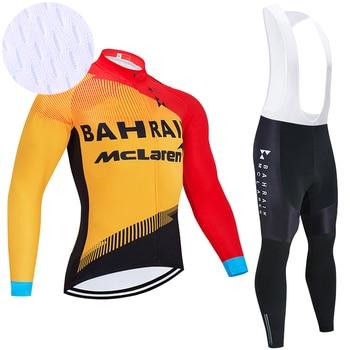 Ropa deportiva de manga larga para equipo de Ciclismo de Bahréin, Maillot...