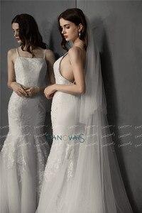 Image 4 - Einfache Weiß/Elfenbein Hochzeit Schleier 2 Schichten 3 meter Weichen Tüll Braut Schleier mit Kamm Hochzeit Zubehör Hohe Qualität velos Novia