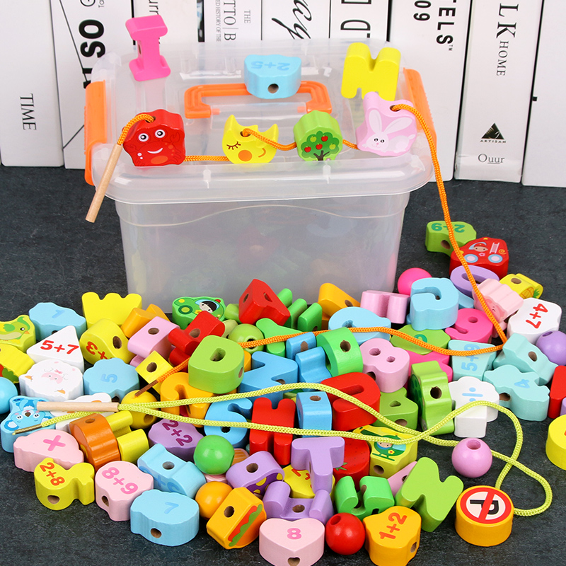 65/106PCS Fruits Vegetables Animal Traffic + Number Letter Blocks Beads Toys Children's Wooden Bead Educational Games Baby Gift