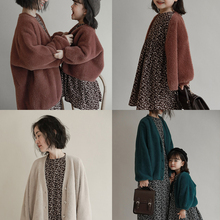 Jacket Girls Coat Cardigan Korean Autumn Winter New-Fashion Solid Long-Sleeve