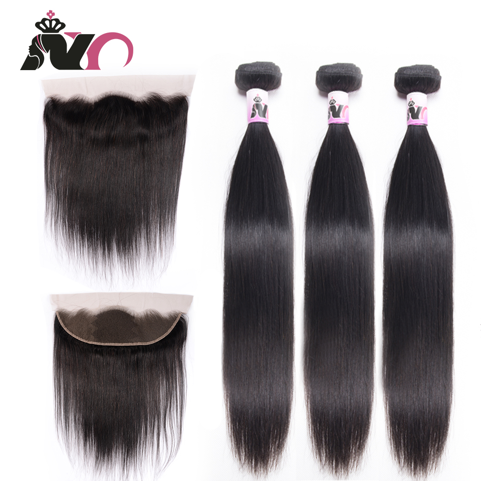 NY Hair Straight Hair Bundles With Closure Malaysia Bundles With Closures Natural Color Hair Human Hair 3 Bundles With Frontal