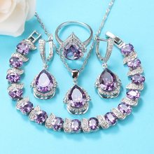 2020 Best Selling Elegant Women Wedding Jewelry Sets 925 Silver Romantic Purple Natural Crystal Ring Size 6/7/8/9/10(China)