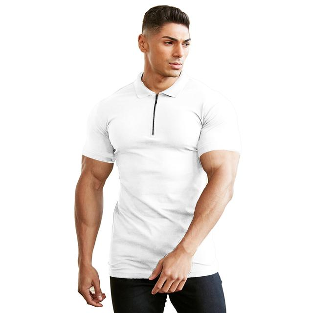 Homem de pulverização moda polo camisa casual moda plain color manga curta alta qualidade ajuste negócio casual polo camisa 1