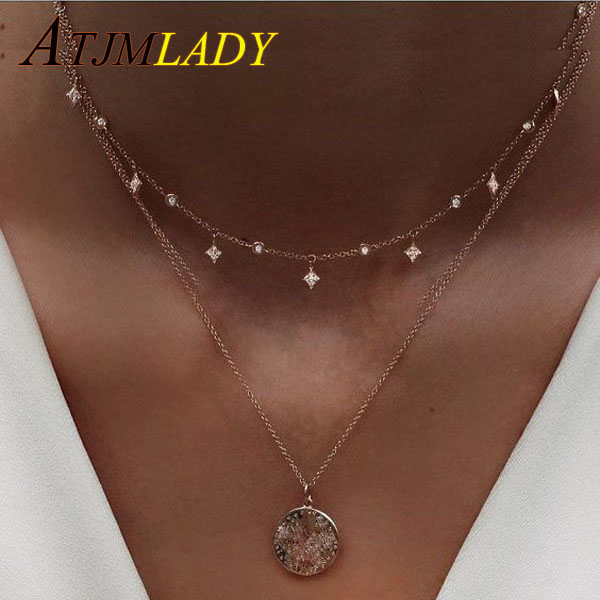 cz link chain triangle drop charm 925 sterling silver women choker bridal gift Star charm sparling statement choker necklace