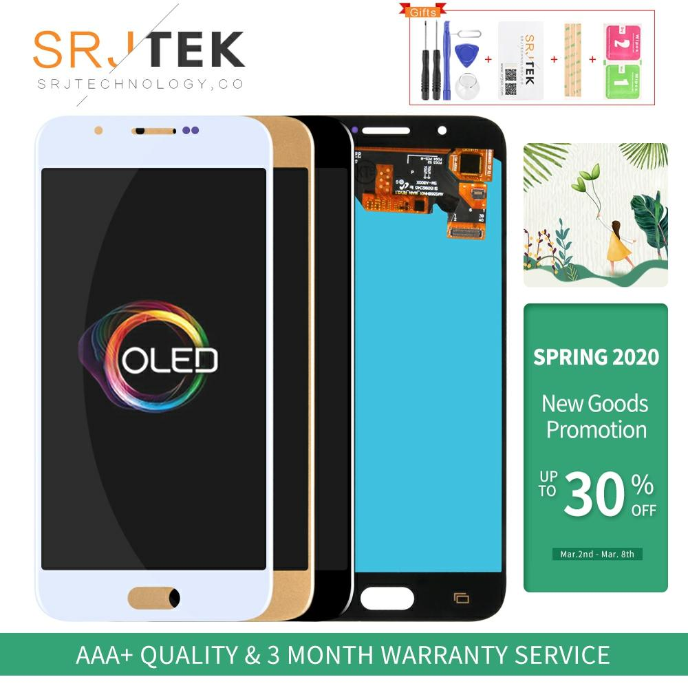OLED Srjtek For Samsung Galaxy A8 A800 Display Touch Screen Digitizer Panel Assembly Replacement Frame For A800F LCD A8000
