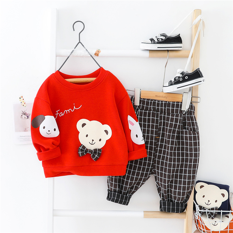 HYLKIDHUOSE Baby Clothing Sets 2020 Spring Girls Boys Clothing Sets Cute Cartoon T Shirt Pants Toddler Infant Vacation Costume