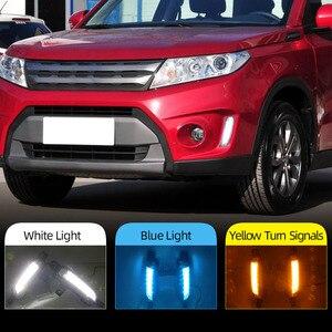 Image 2 - 2 Chiếc Xe Ô Tô Đèn LED Chạy Ban Ngày Đèn DRL Dành Cho Xe Suzuki Vitara 2015 2016 2017 2018 2019 2020 Đèn Sương Mù Với vàng Nhan