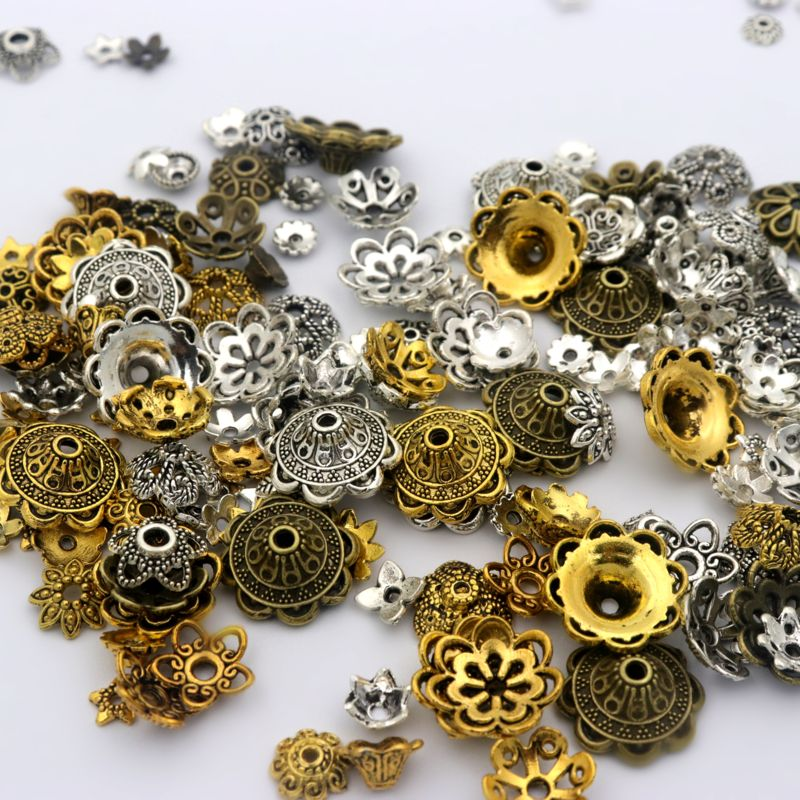 150pcs Mix Tibetan Gold Silver Color Metal Loose Spacer Bead Caps For Diy Jewelry Making Finding Necklace Accessories Wholesale