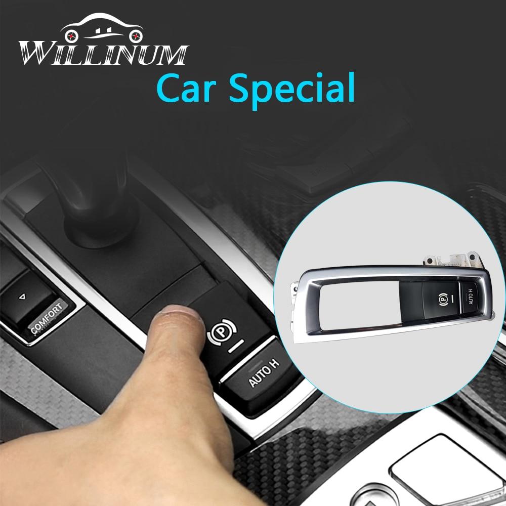 Car Interior P Button Electronic Handbrake Frame Cover Trim LHD For BMW F10 F11 F01 F02 Chrome Brake Frame Complete Set Replace