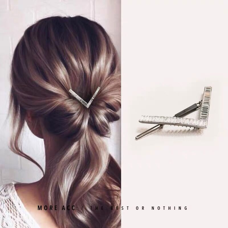 6.8CM Luxury Crystal Hair Jewelry For Women Cubic Zircon Metal Hairpins Wedding Ornament Hair Clips Geometric Hair Accessories