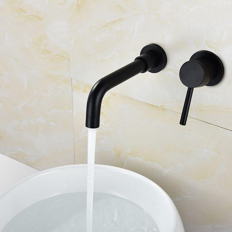 Robinet de lavabo chaud et froid encastré au mur noir en cuivre robinet de lavabo de salle de bain à eau chaude et froide dissimulé - 6