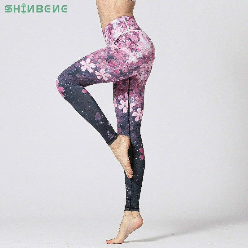 SHINBENE 3D Digital Printed Yoga Leggings Women Flexible High Waist Fitness Sport Capri Pants Plus Size Jogging Tights S-XL