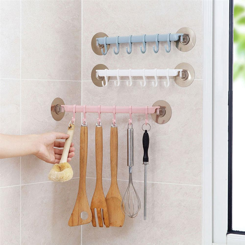 Multifunction Kitchen Storage Hook Holder 6 Hooks Wall Door Holder Hanger Rack For Spoon Scoop Bathroom Kitchen Organizer
