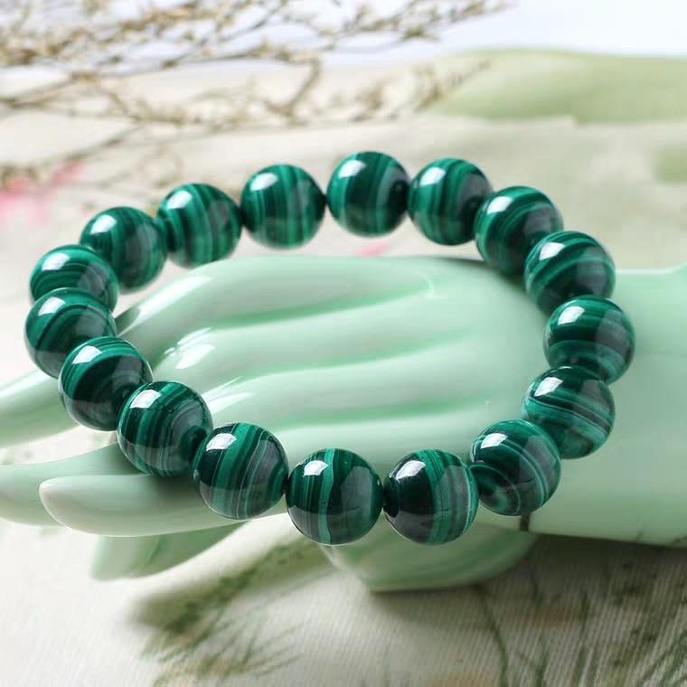 Genuine Natural Malachite Bracelet 8mm 10mm 12mm 14mm Women Men Healing Stone Stretch Chrysocolla Round Beads Crystal AAAAA
