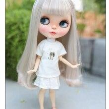 Blyth – perruque de poupée en fibre de haute température, cheveux longs bouclés, accessoires, 9-10 pouces