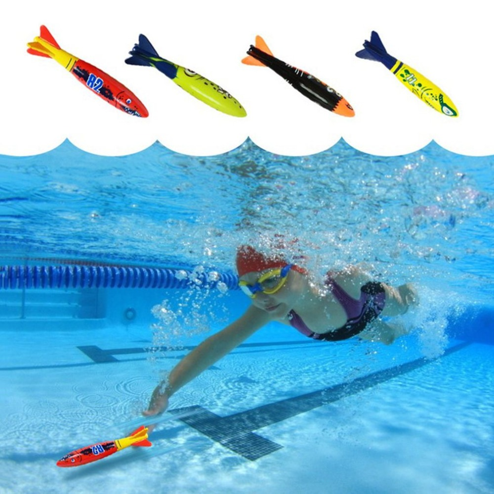 4Pcs/Set Diving Torpedo Underwater Swimming Pool Playing Toys Outdoor Funny Sport Swimming Training Tool Toy For Baby Children