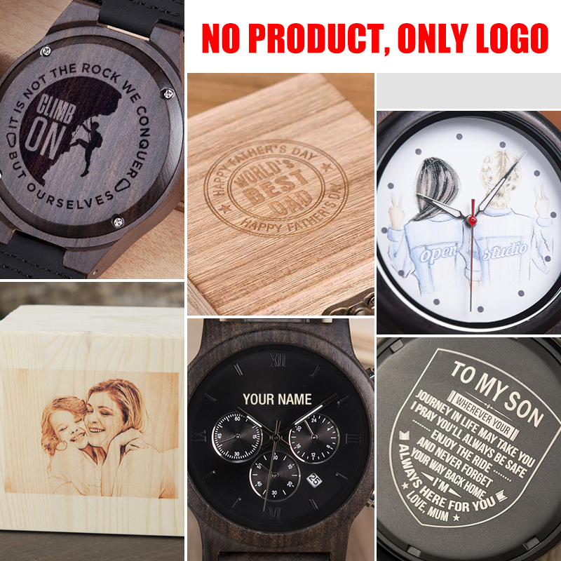 LOGO wood bamboo wooden watches wooden boxes logo engraved fee customized logo laser engrave OEM ODM