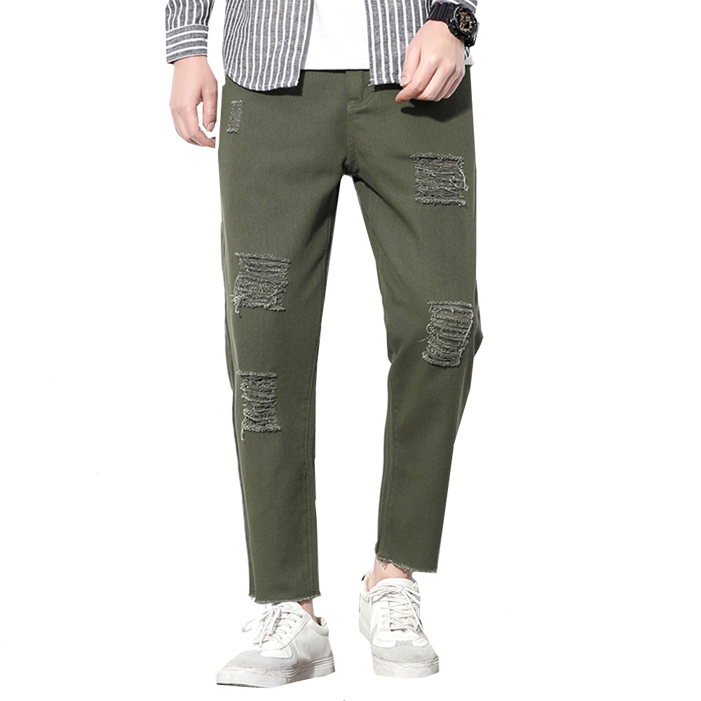 Hole Jeans 2019 Men Jeans Designer Army Green Biker Jeans Straight Stretch Denim Skinny Jeans Male Trousers Plus Size M-5XL