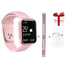 P80 kadın akıllı saat + askı + kulaklık nabız monitörü spor izci spor IP68 su geçirmez Smartwatch Android IOS için