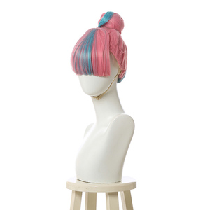 Image 2 - L email wig LoL True Damage Qiyana Cosplay Wigs Prestige Pink Mix Blue Wigs with Bangs Cosplay Wig Heat Resistant Synthetic Hair