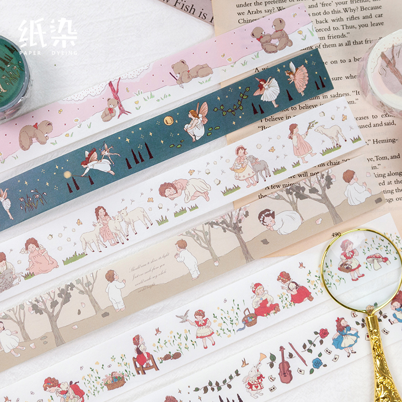 Little People Nation Series Bullet Journal Washi Tape Fairy Tale Decorative Adhesive Tape DIY Scrapbooking Sticker Label