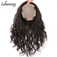 isheeny 8 16 Natural Wavy Human Hair Topper 14*14 cm Fine Nomo & PU Base With Clip In Women Topper Invisible Remy Hair Pieces