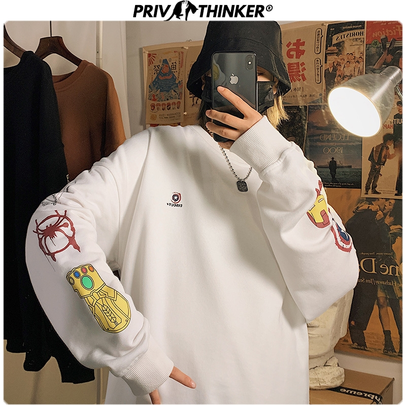 Privathinker Men Funny Print Loose Hoodies 2020 Spring Korean Sweatshirts Harajuku Oversize O-Neck Hoodie Clothes 5XL Fashions