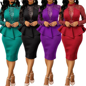 VAZN Autumn Customization Heavy Industry Diamonds Sexy Club High-end Fashion Solid Full Sleeve Women Pencil Midi Dress