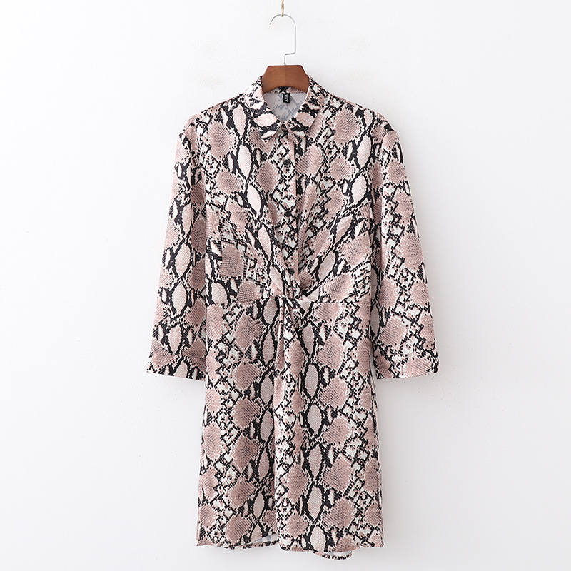 19xd11-1665 2018 Autumn New Style Casual WOMEN'S Dress Snakeskin Printed Knotted Shirt Dress