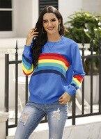 Mode Regenbogen Pullover Frau Herbst Langarm Striped O-ansatz Gestrickte Pullover Schwarz Blau Weiß 3 Farbe Casual Tops Weibliche