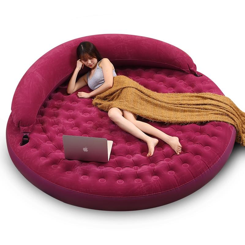 Fahion Round Double Folding Inflatable Sofa Bed Single Lazy Sofa Cushion Bed Increase Creative Home Bearing 270kg
