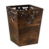 H1 Chinese Creative Trash Can Bathroom Large Vintage Wooden Paper Basket Living Room Kitchen Tea Room Household Solid Wood Trash