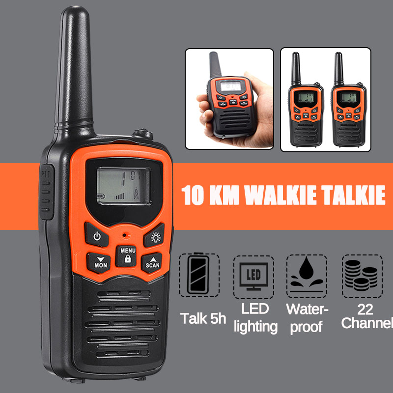 2Pcs 10KM 2-Way Kids Walkie Talkie 400-470Mhz Mini Radio For Children Outdoor Intercom Toy Gift With LED Flashlight 22 Channels