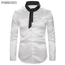 Fashion Silk Satin Tie Dress Shirts Mens 2019 New Splice Design Standing Collar Emulation Slim Fit Long-Sleeved Shirt