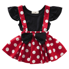 Girls Minnie Dress up Baby Kids Birthday Clothes for Cake Smash 2pc set Polka Dot Strap with Tops Cute