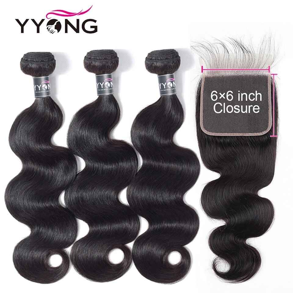 Yyong Hair 6x6 Closure With Bundles 3 Malaysian Body Wave Lace Closure, Remy Human