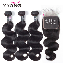 Yyong Hair 6x6 Closure With Bundles 3 Malaysian Body Wave Lace Closure, Remy Human
