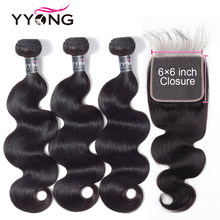 Yyong Hair 6x6 Closure With Bundles 3 Bundles Malaysian Body Wave With 6x6 Lace Closure, Remy Human Hair Bundles With Closure(China)