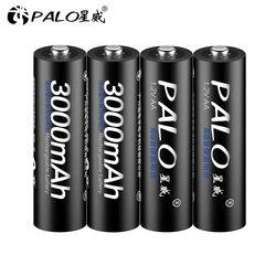 4 Uds pilas AA recargables 1,2 V AA 3000mAh Ni-MH pilas recargables precargadas 2A Baterias para linterna de cámara