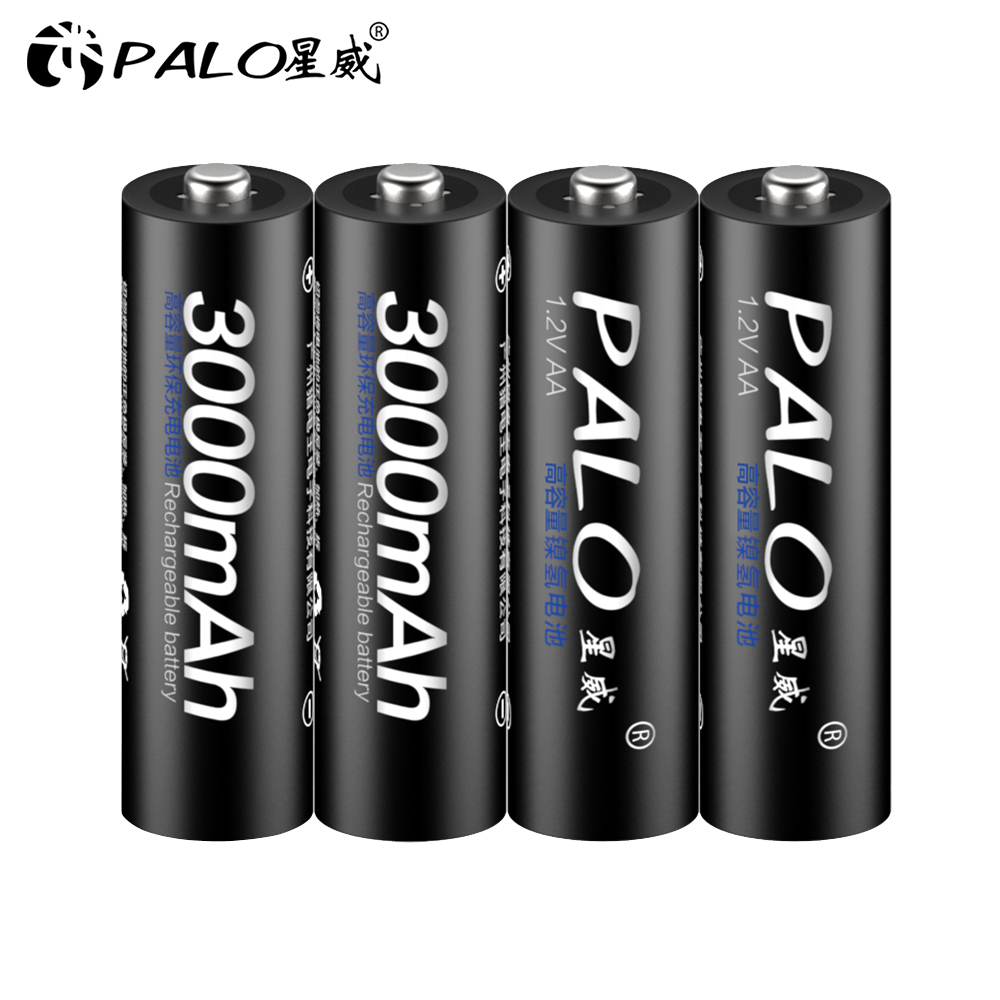 4Pcs AA Battery Rechargeable Batteries 1.2V AA 3000mAh Ni-MH Pre-charged Rechargeable Battery 2A Baterias for Camera Flashlight