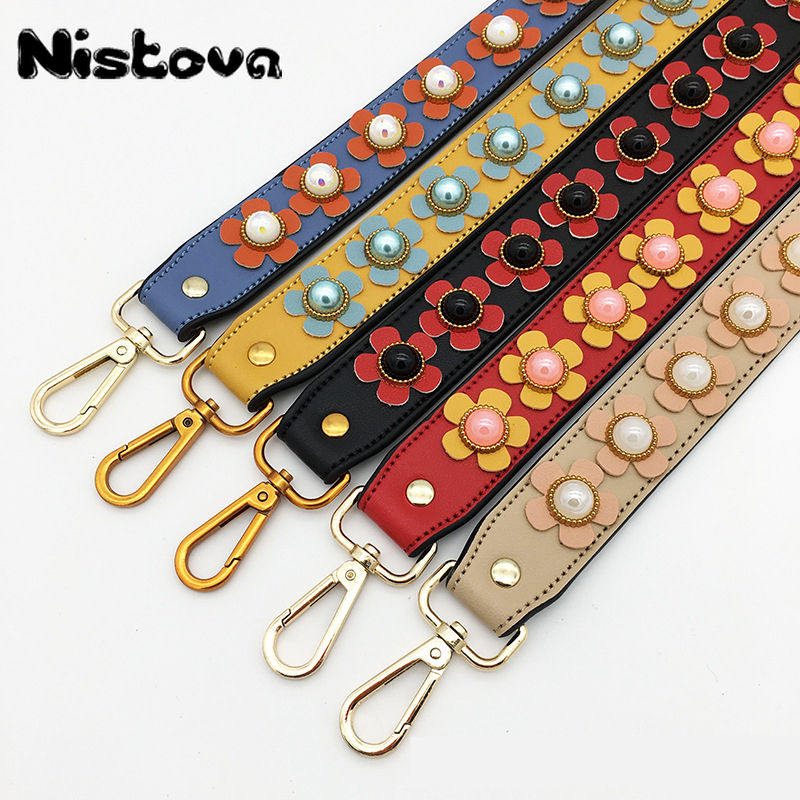 Rich Color Patterns PU Leather And Nylon Handle Bag Strap Women Removable DIY Shoulder Rainbow Handbag Accessories Purse Strap