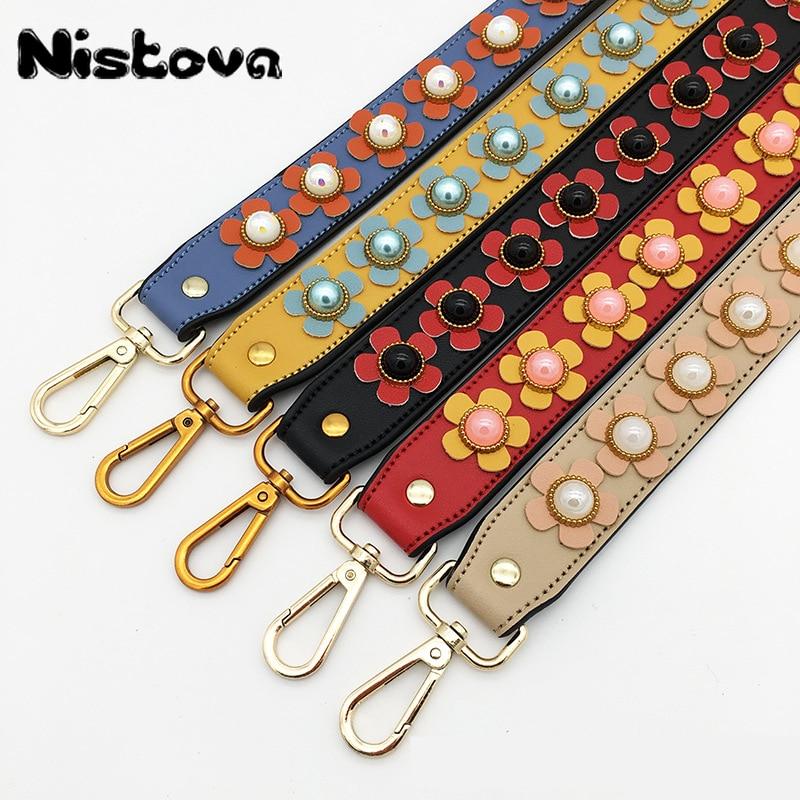 Rich Color Patterns PU Leather And Nylon Handle Bag Strap Women Removable DIY Shoulder Rainbow Handbag Accessories Purse Strap