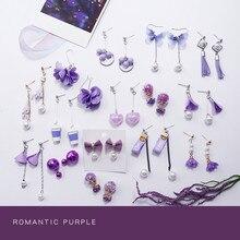 Purple Style Drop Earrings Women Fashion Statement Earrings Flower Plant Geometric Jewelry Accessories Girls Gifts недорого