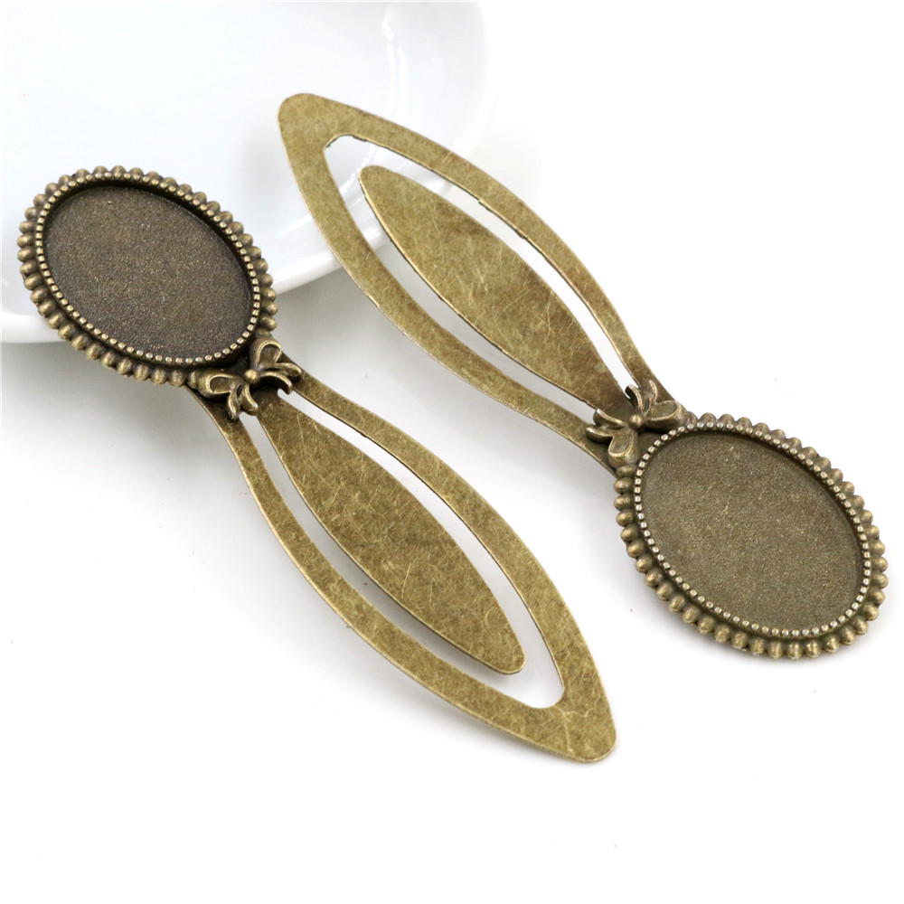 New Fashion 2pcs 18x25mm Inner Size Antique Bronze Vintage Style Handmade Bookmark Cabochon Base  Cameo Setting (I1-13)