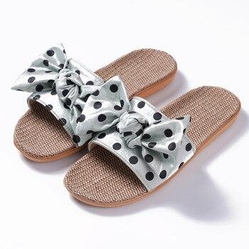 Flax Slippers Bow Polka Dot Indoor 2020 New Summer Female Korean Cute Open Toe Sandals Flip Flops Shoes Women - discount item  40% OFF Women's Shoes