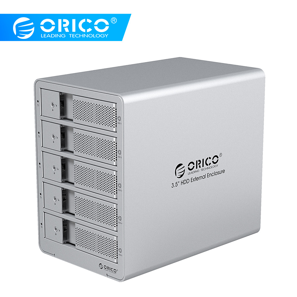 ORICO 5 Bay 3,5 inch USB3,0 HDD dockingstation SATA externe harde schijfbehuizing SSD HDD-hoes voor harde schijf Laptop PC